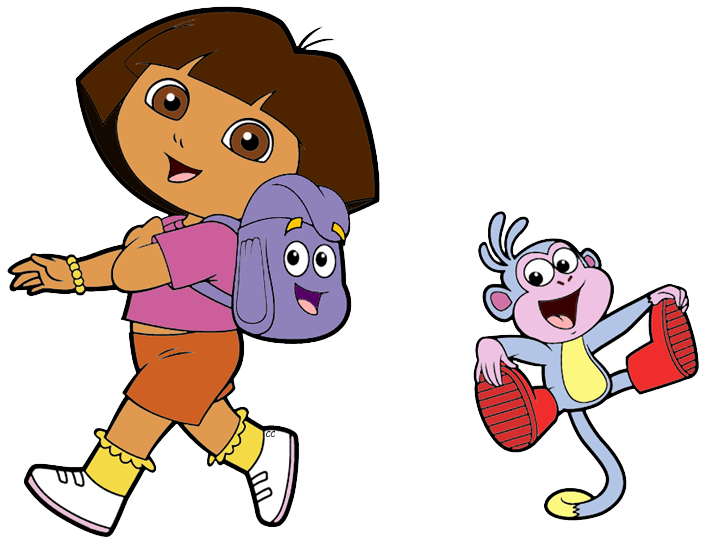 Dora the Explorer Clip Art | Cartoon Clip Art Dora Backpack And Map on